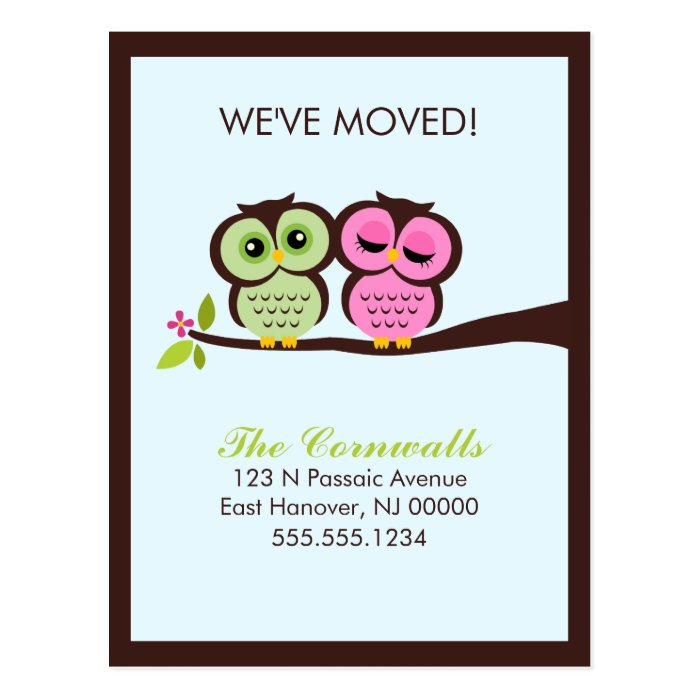 Lovely Owls Moving Announcements Postcard