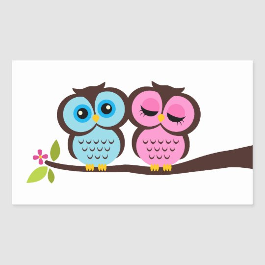 Lovely Owls Rectangular Sticker