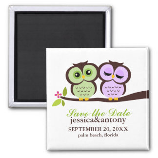 Lovely Owls Save the Date 2 Inch Square Magnet