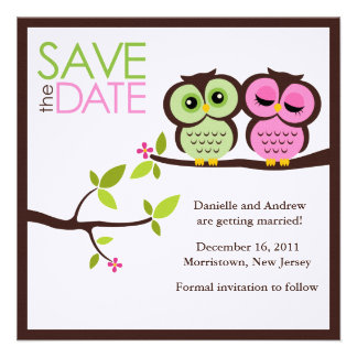 Lovely Owls Save the Date Announcements