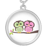 Lovely Owls Silver Plated Necklace