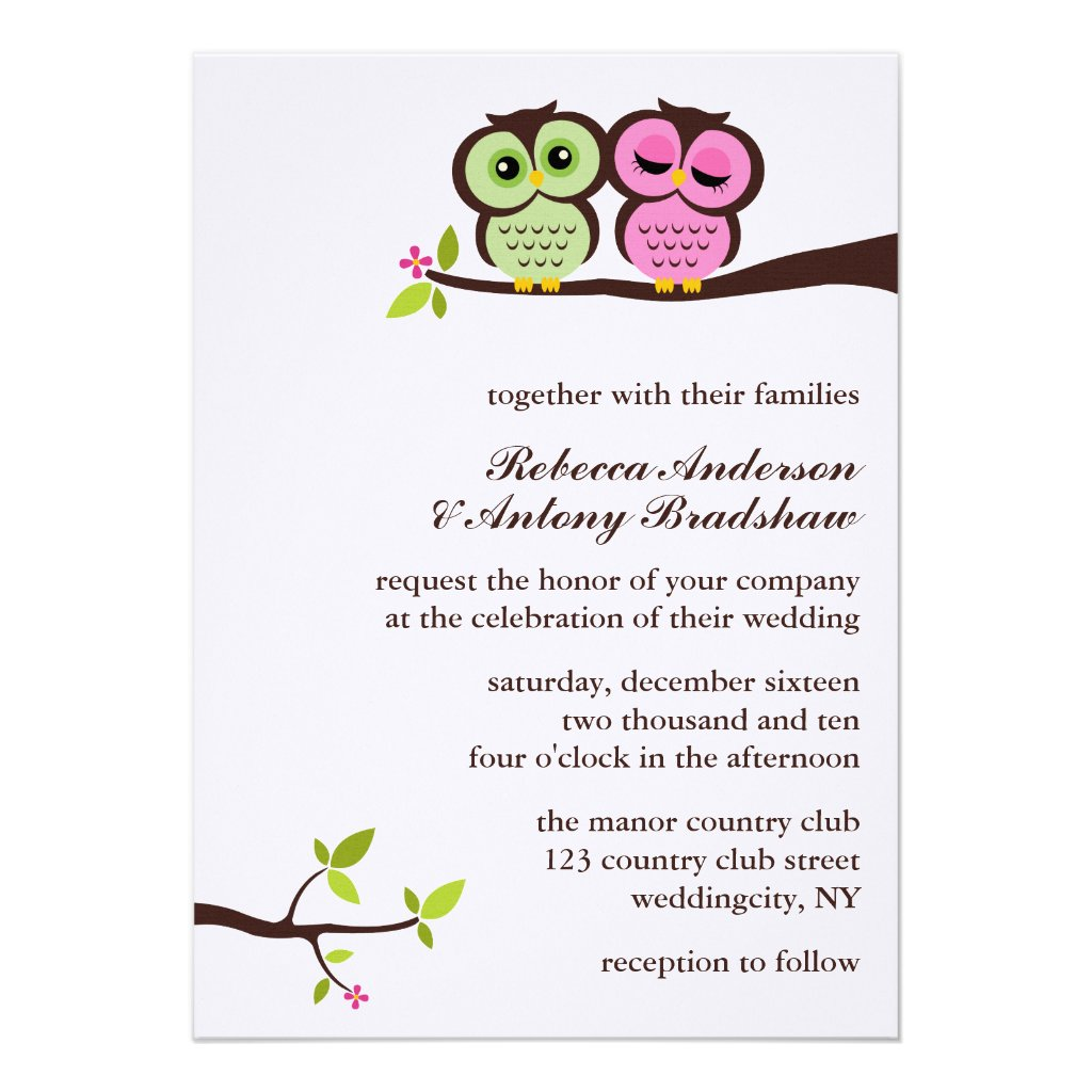 Lovely Owls Wedding Personalized Announcements