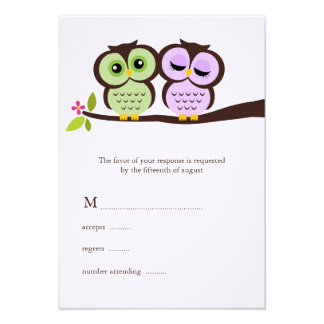 Lovely Owls Wedding Response Cards Announcements