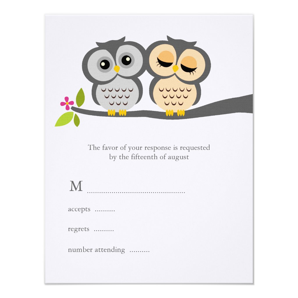 Lovely Owls Wedding Response Cards Personalized Invites