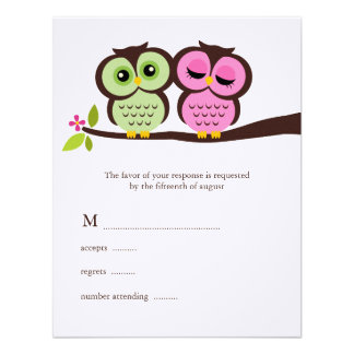 Lovely Owls Wedding Response Cards Personalized Invitations