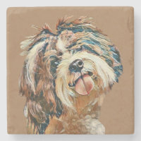 Lovely Painted Shih Tzu Face Marble Coaster
