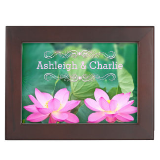 Lovely Pair Pink Lotus Couple Pond Green Leaves Memory Box