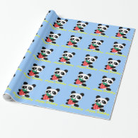 Lovely panda and strawberry blue gift gift wrap