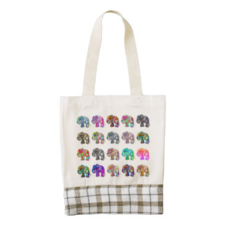 Lovely parading ornamental folclore elephants zazzle HEART tote bag