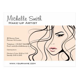 Lovely pastel make up artist  branding postcard