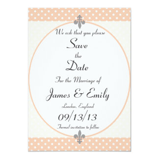 Lovely Peach Polka Dots Save The Date Notice Card