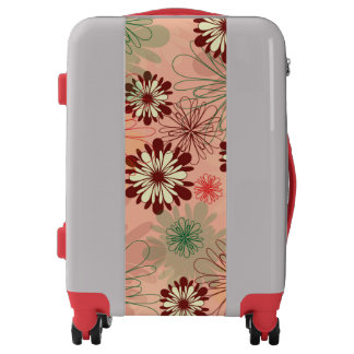 Lovely Peach red and green floral Luggage