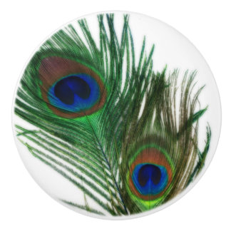 Lovely Peacock Feather Ceramic Knob