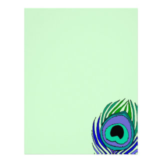 Lovely Peacock Feather Letterhead Stationery Paper