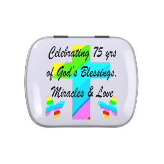 LOVELY PERSONALIZED 75TH BIRTHDAY DESIGN JELLY BELLY TINS