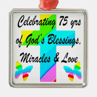 LOVELY PERSONALIZED 75TH BIRTHDAY DESIGN METAL ORNAMENT