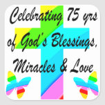 LOVELY PERSONALIZED 75TH BIRTHDAY DESIGN SQUARE STICKER