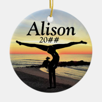 LOVELY PERSONALIZED AND DATED GYMNAST ORNAMENT