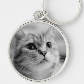 Lovely Pet Cat Silver-Colored Round Keychain