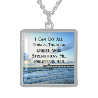 LOVELY PHILIPPIANS 4:13 BIBLE VERSE STERLING SILVER NECKLACE