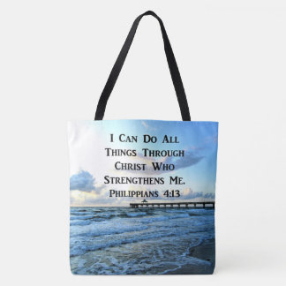LOVELY PHILIPPIANS 4:13 BIBLE VERSE TOTE BAG