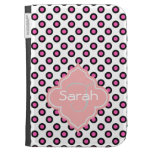 lovely pink and black circle polka dots monogram kindle 3G cases