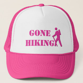 lovely pink and white gone hiking sports hat. trucker hat