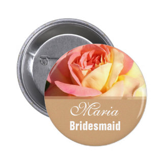 Lovely pink and yellow flower wedding name button. button