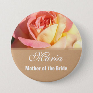 Lovely pink and yellow flower wedding name button. pinback button