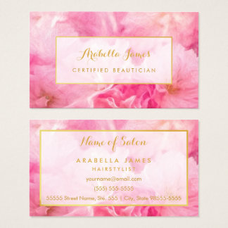 Lovely Pink Blossoms Floral Certified Beautician Business Card