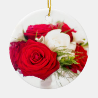 Lovely pink bouquet ceramic ornament