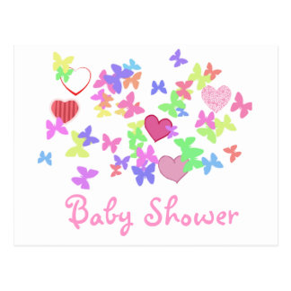 lovely pink butterflies and hearts baby shower postcard