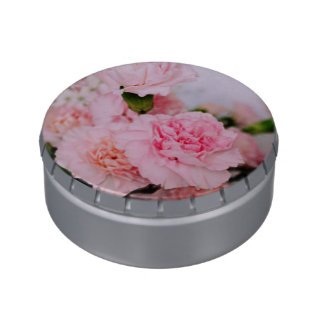 Lovely pink carnation flower photography. jelly belly candy tins
