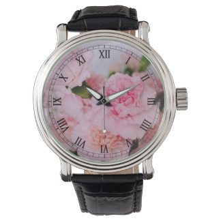 Lovely pink carnation flower photography. wristwatch