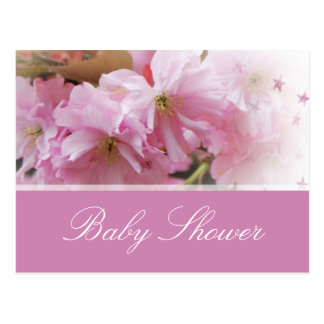 Lovely pink cherry blossom spring baby shower postcards