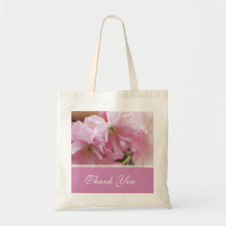 Lovely pink cherry blossom  spring wedding favor canvas bag