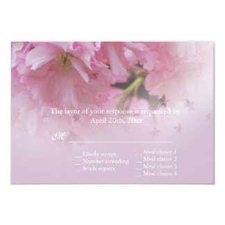 Lovely pink cherry blossom spring wedding RSVP Personalized Invitations