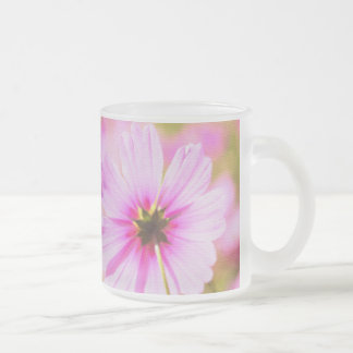 Lovely Pink Cosmos Field Flower Park Painterly 10 Oz Frosted Glass Coffee Mug