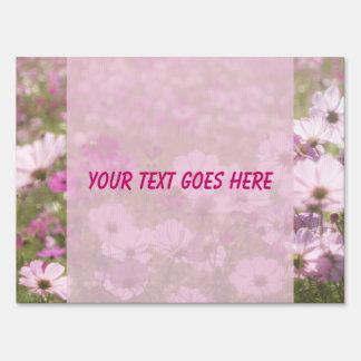 Lovely Pink Cosmos Flower Field Meadow Sunlight Sign