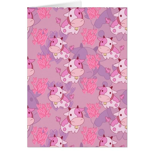 Lovely Pink Cow Pattern Card