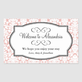 Lovely pink damask pattern out of town gift bag rectangular sticker
