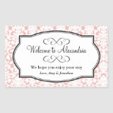 Lovely pink damask pattern out of town gift bag rectangle sticker