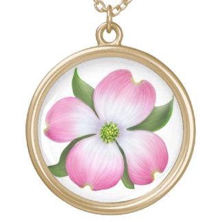 Lovely Pink Dogwood Flower Necklace