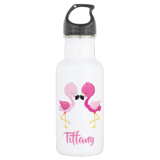 Lovely Pink Flamingos for you Stainless Steel Water Bottle