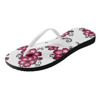 Lovely pink floral art design flip flops