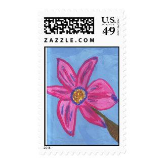 lovely pink flower stamp