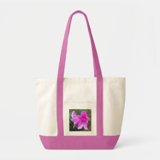 Lovely pink garden flowers with rain drops. floral impulse tote bag