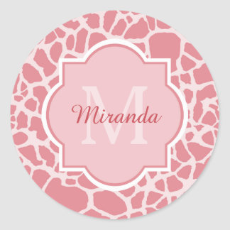 Lovely Pink Giraffe Pattern With Monogram and Name Classic Round Sticker