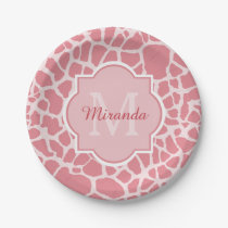 Lovely Pink Giraffe Pattern With Monogram and Name Paper Plate