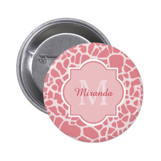 Lovely Pink Giraffe Pattern With Monogram and Name Pinback Button